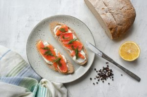 Salmon and Cream. Cheese Sandwiches